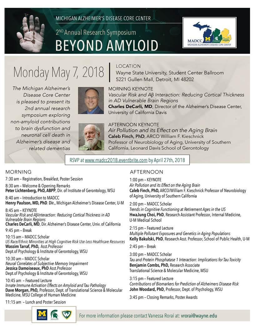 Wayne State Calendar.Madcc 2018 Research Symposium Michigan Alzheimer S Disease Center